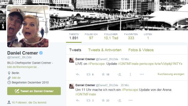 Screenshot Twitter-Profil von Daniel Cremer am Tag nach der Bombendrohung bei #GNTM